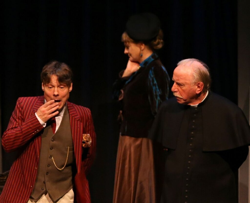 Shot of John Goodrum (Mundon Mandeville), Karen Henson (Miriam Mandeville) and John Lyons (Father Brown)
