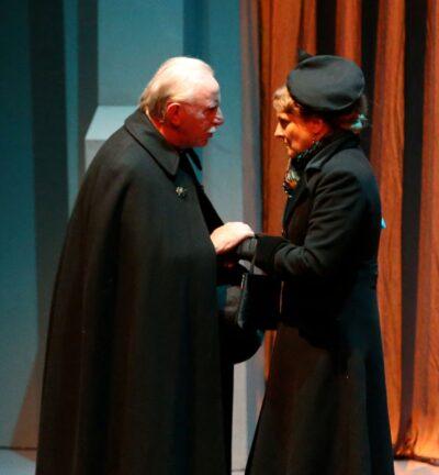 Shot of John Lyons (Father Brown) and Karen Henson (Miriam Mandeville)