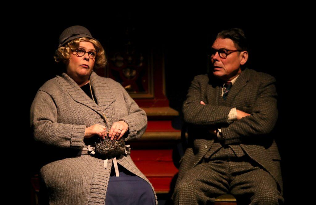 Headshots of Susan Earnshaw (Miss Mellodew) and John Goodrum (Dr Peach)
