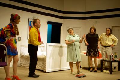 Headshot of Chloe Thorpe (Honey Tooks), David Martin (Draycott Harris), Susan Earnshaw (Mrs Finney), Sarah Wynne Kordas (Julia) and John Goodrum (James Harris)