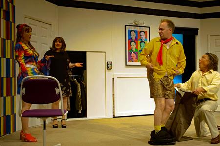 Headshot of Chloe Thorpe (Honey Tooks), Sarah Wynne Kordas (Julia), David Martin (Draycott Harris) and John Goodrum (James Harris)