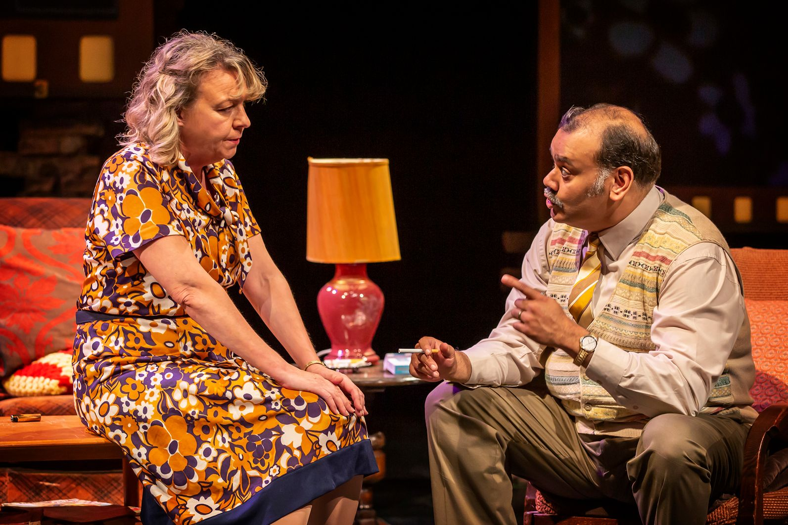 Headshots of Sophie Stanton (Ella Khan) and Tony Jayawardena (George Khan)